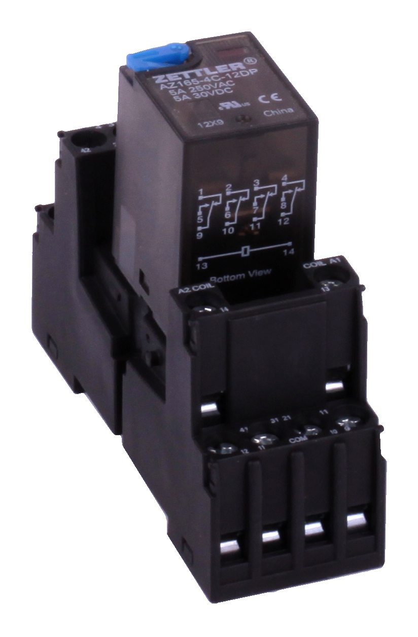 Power relay - 4 contacts NO/C/NC - Coil 12VDC - delivered with Dinrail  support